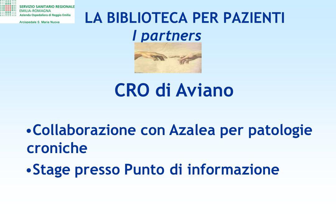 LA BIBLIOTECA PER PAZIENTI I partners CRO di Aviano Collaborazione con Azalea per patologie croniche Stage presso Punto di informazione
