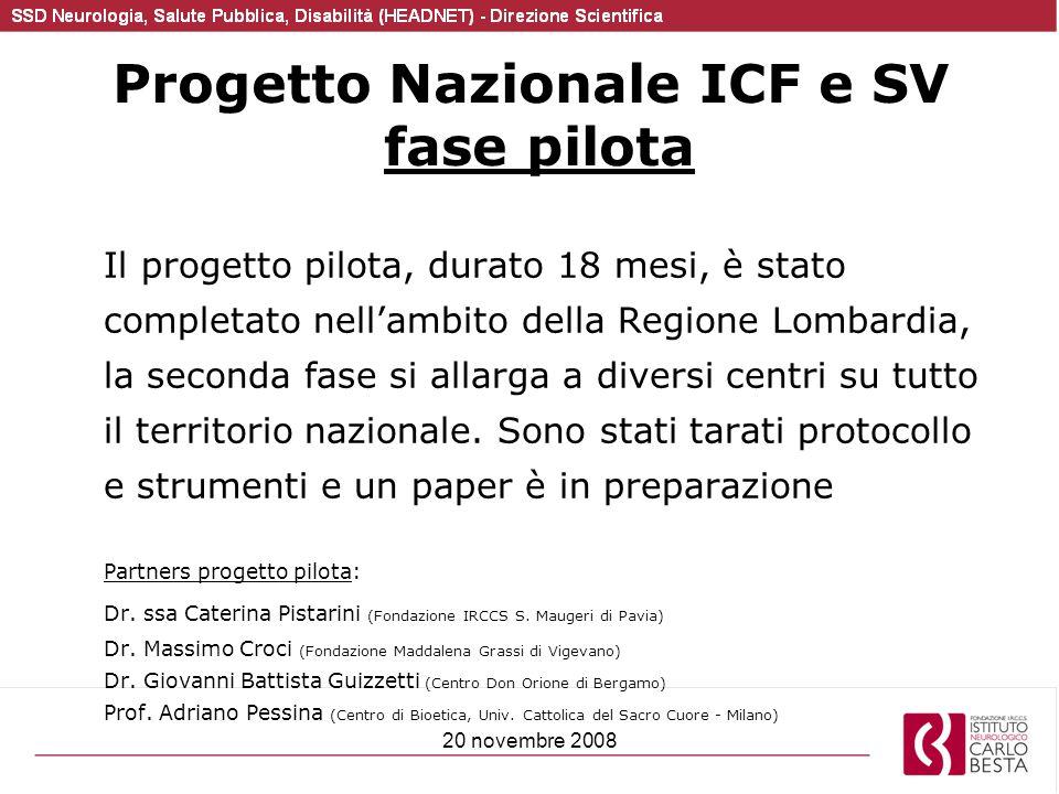 20 novembre 2008 Progetto Nazionale ICF e SV fase pilota Il progetto pilota, durato 18 mesi, è stato completato nell'ambito della Regione Lombardia, l