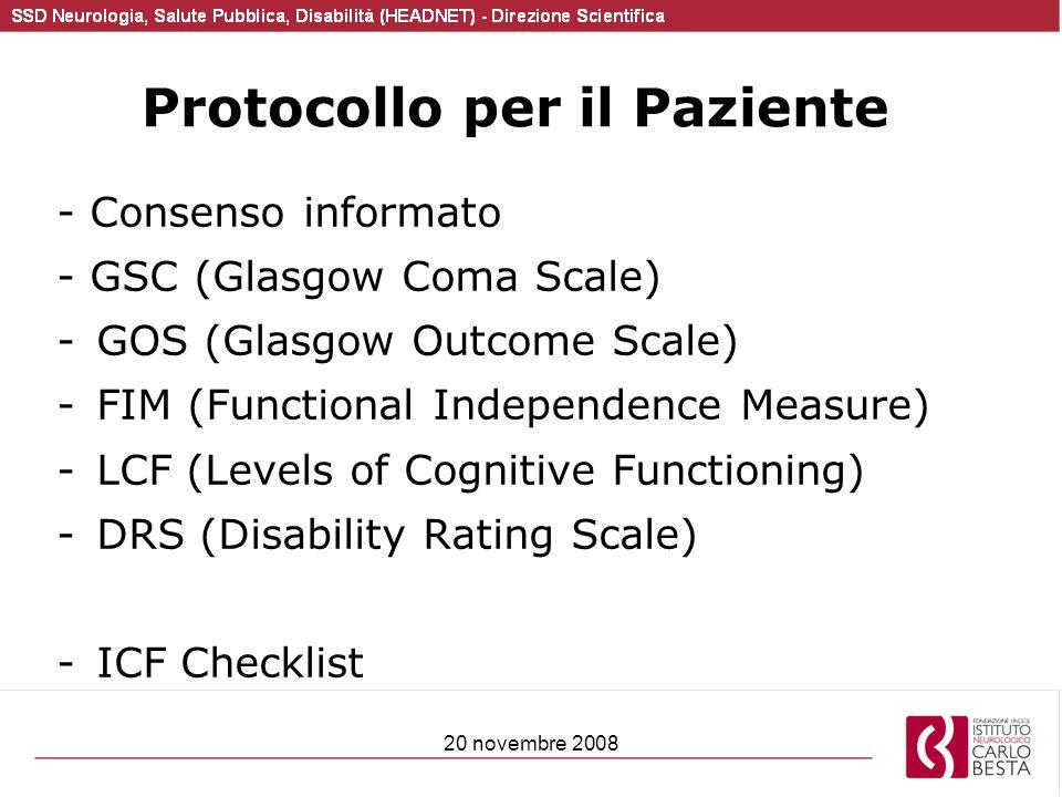 20 novembre 2008 Protocollo per il Paziente - Consenso informato - GSC (Glasgow Coma Scale) -GOS (Glasgow Outcome Scale) -FIM (Functional Independence