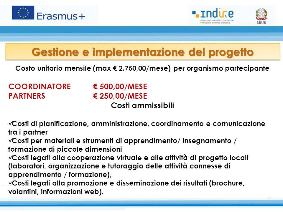 11 Costo unitario mensile (max € 2.750,00/mese) per organismo partecipante COORDINATORE € 500,00/MESE PARTNERS€ 250,00/MESE Costi ammissibili Costi di