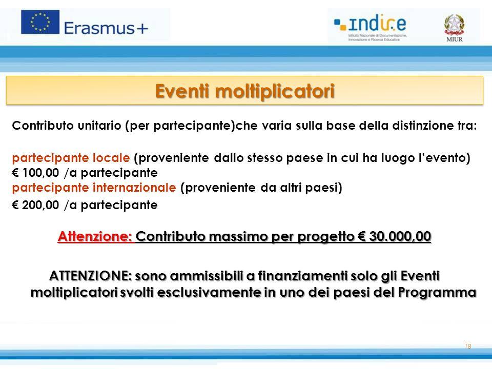 Contributo unitario (per partecipante)che varia sulla base della distinzione tra: partecipante locale (proveniente dallo stesso paese in cui ha luogo