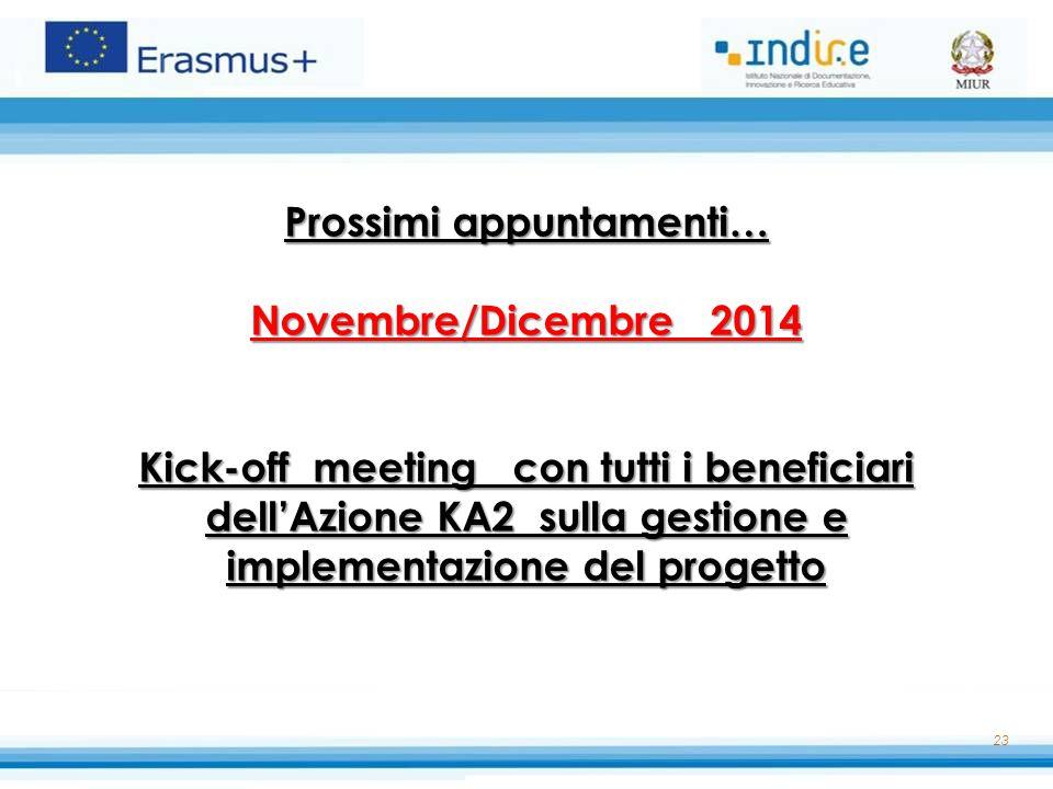 23 Prossimi appuntamenti… Novembre/Dicembre 2014 Kick-off meeting con tutti i beneficiari dell'Azione KA2 sulla gestione e implementazione del progett