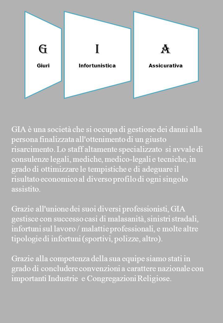 GIA è una società che si occupa di gestione dei danni alla persona finalizzata all'ottenimento di un giusto risarcimento. Lo staff altamente specializ