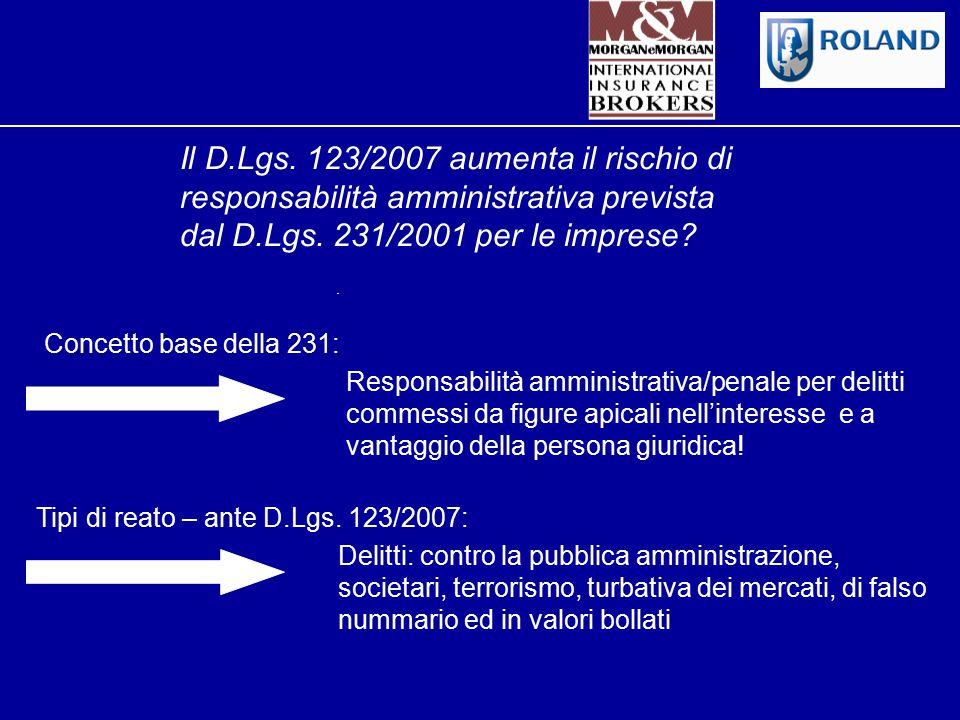 Il D.Lgs. 123/2007 aumenta il rischio di responsabilità amministrativa prevista dal D.Lgs. 231/2001 per le imprese? Concetto base della 231: Responsab
