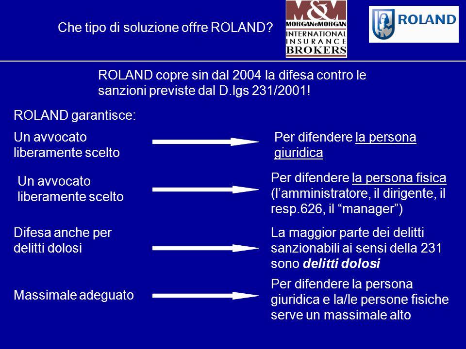 ROLAND L'Innovazione nella Tutela Legale Che tipo di soluzione offre ROLAND? ROLAND copre sin dal 2004 la difesa contro le sanzioni previste dal D.lgs