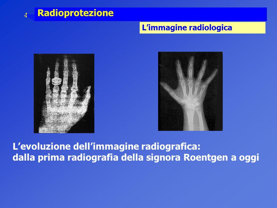4 Radioprotezione L'immagine radiologica L'evoluzione dell'immagine radiografica: dalla prima radiografia della signora Roentgen a oggi