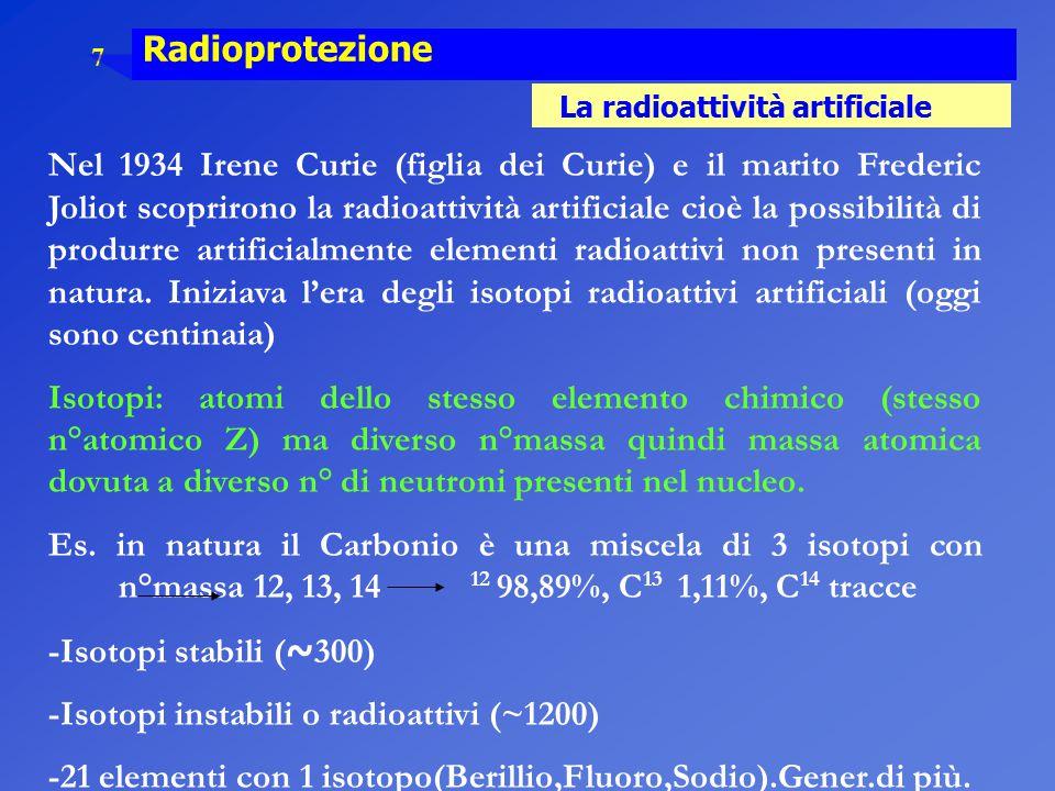 7 Radioprotezione La radioattività artificiale Nel 1934 Irene Curie (figlia dei Curie) e il marito Frederic Joliot scoprirono la radioattività artific