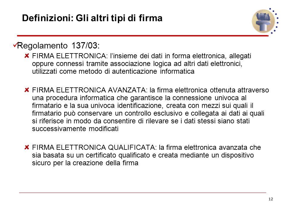 12 Definizioni: Gli altri tipi di firma Regolamento 137/03: FIRMA ELETTRONICA: l'insieme dei dati in forma elettronica, allegati oppure connessi trami