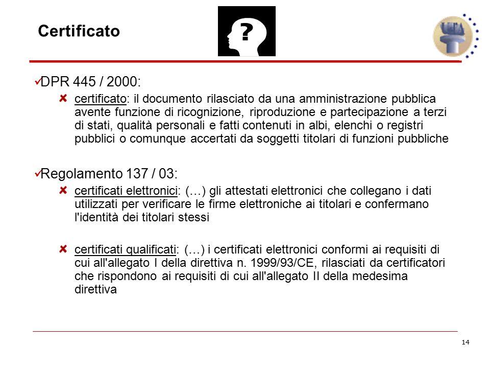 14 Certificato DPR 445 / 2000: certificato: il documento rilasciato da una amministrazione pubblica avente funzione di ricognizione, riproduzione e pa