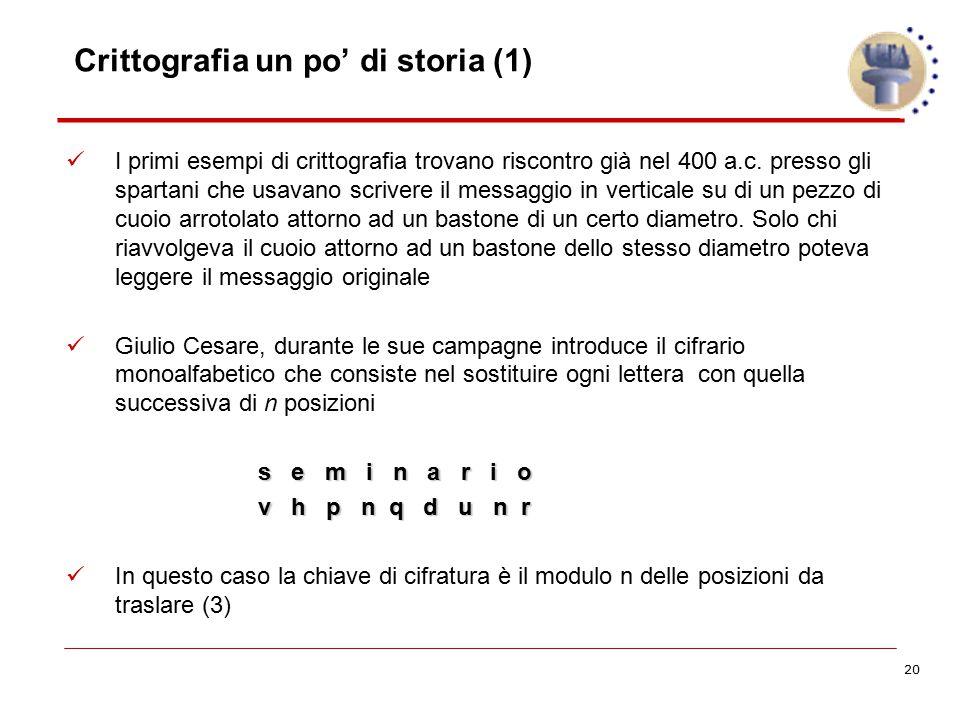 20 Crittografia un po' di storia (1) I primi esempi di crittografia trovano riscontro già nel 400 a.c. presso gli spartani che usavano scrivere il mes