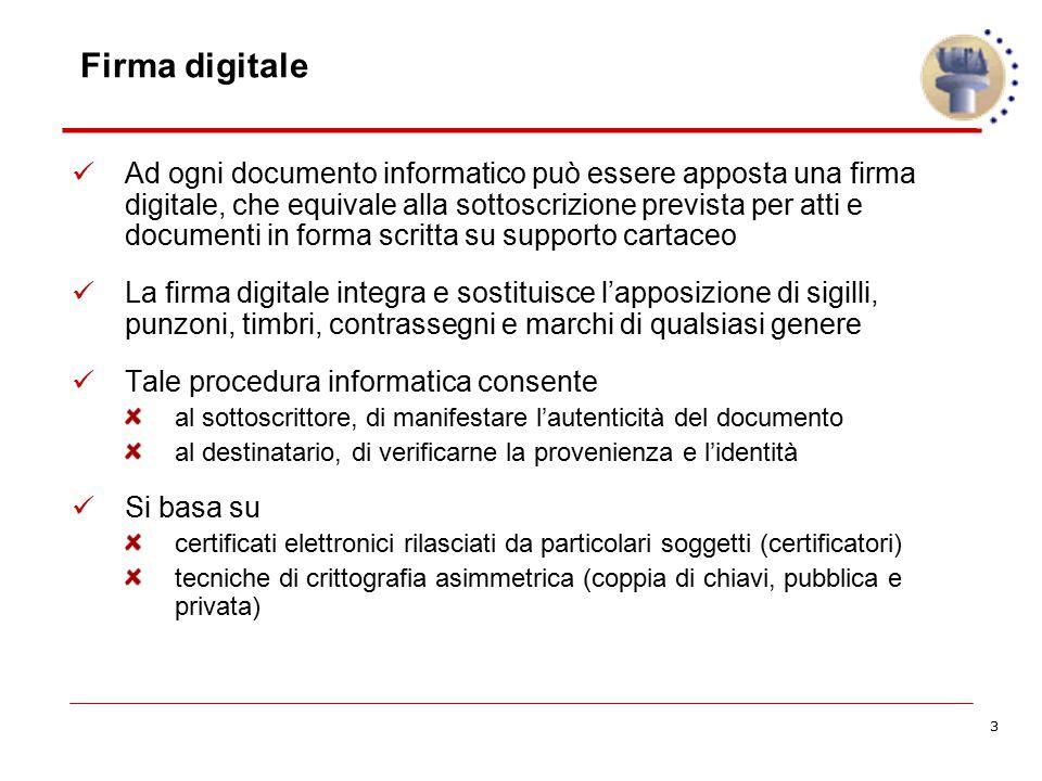 3 Firma digitale Ad ogni documento informatico può essere apposta una firma digitale, che equivale alla sottoscrizione prevista per atti e documenti i