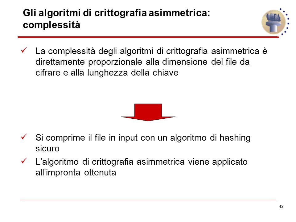 43 Gli algoritmi di crittografia asimmetrica: complessità La complessità degli algoritmi di crittografia asimmetrica è direttamente proporzionale alla