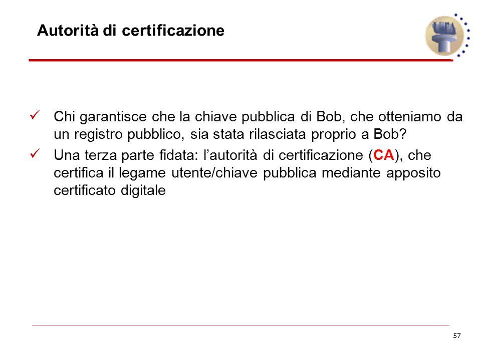 57 Autorità di certificazione Chi garantisce che la chiave pubblica di Bob, che otteniamo da un registro pubblico, sia stata rilasciata proprio a Bob?