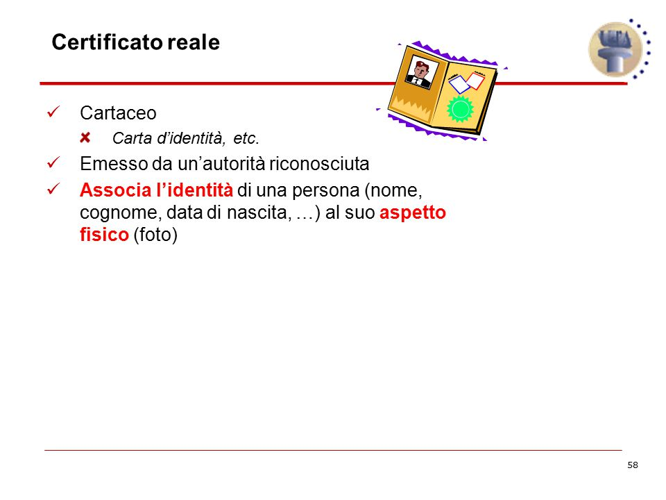 58 Certificato reale Cartaceo Carta d'identità, etc. Emesso da un'autorità riconosciuta Associa l'identità di una persona (nome, cognome, data di nasc