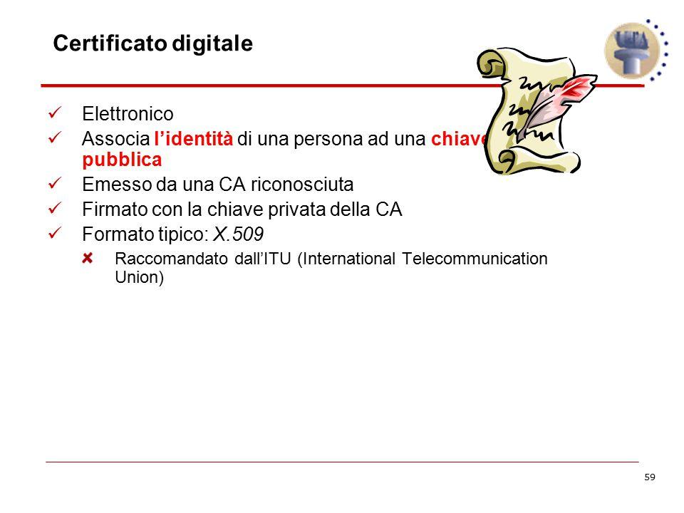 59 Certificato digitale Elettronico Associa l'identità di una persona ad una chiave pubblica Emesso da una CA riconosciuta Firmato con la chiave priva