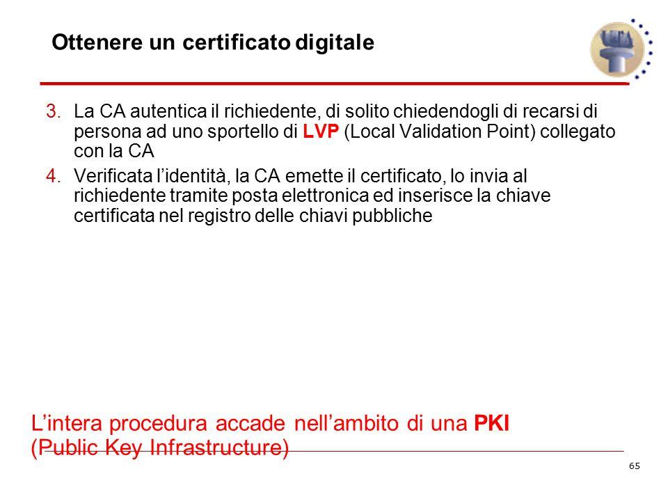 65 Ottenere un certificato digitale 3.La CA autentica il richiedente, di solito chiedendogli di recarsi di persona ad uno sportello di LVP (Local Vali