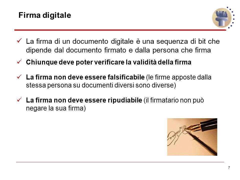 7 La firma di un documento digitale è una sequenza di bit che dipende dal documento firmato e dalla persona che firma Chiunque deve poter verificare l