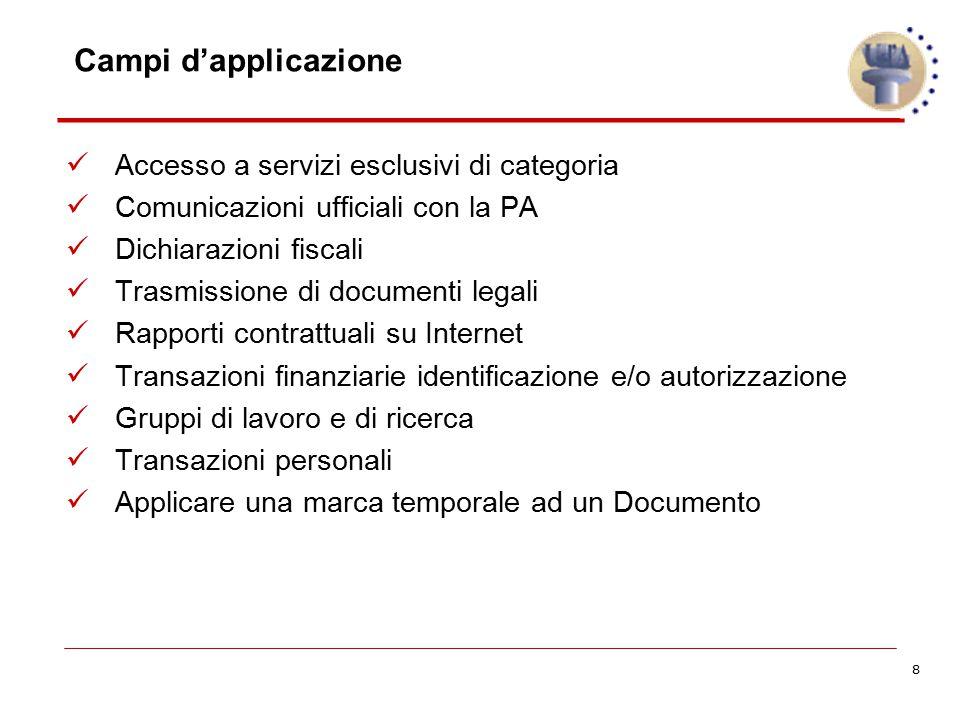 8 Campi d'applicazione Accesso a servizi esclusivi di categoria Comunicazioni ufficiali con la PA Dichiarazioni fiscali Trasmissione di documenti lega