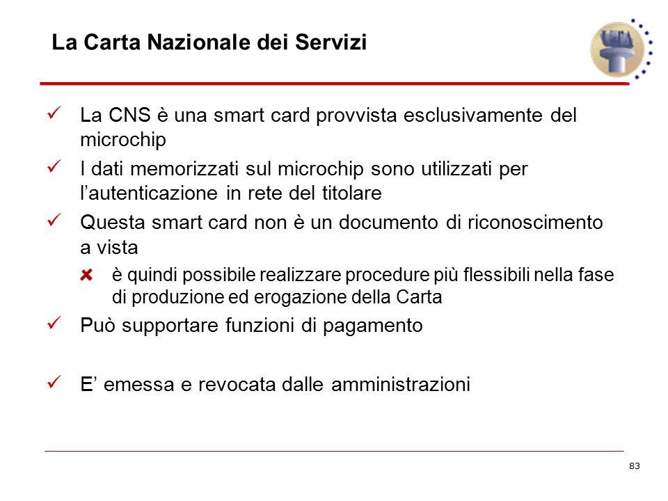 83 La Carta Nazionale dei Servizi La CNS è una smart card provvista esclusivamente del microchip I dati memorizzati sul microchip sono utilizzati per