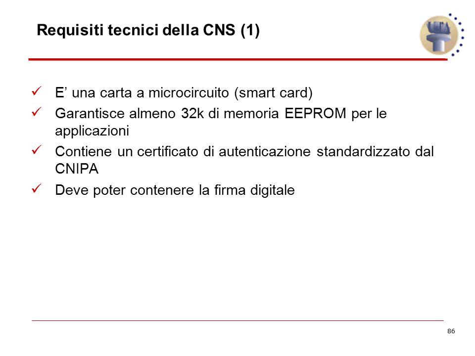 86 Requisiti tecnici della CNS (1) E' una carta a microcircuito (smart card) Garantisce almeno 32k di memoria EEPROM per le applicazioni Contiene un c