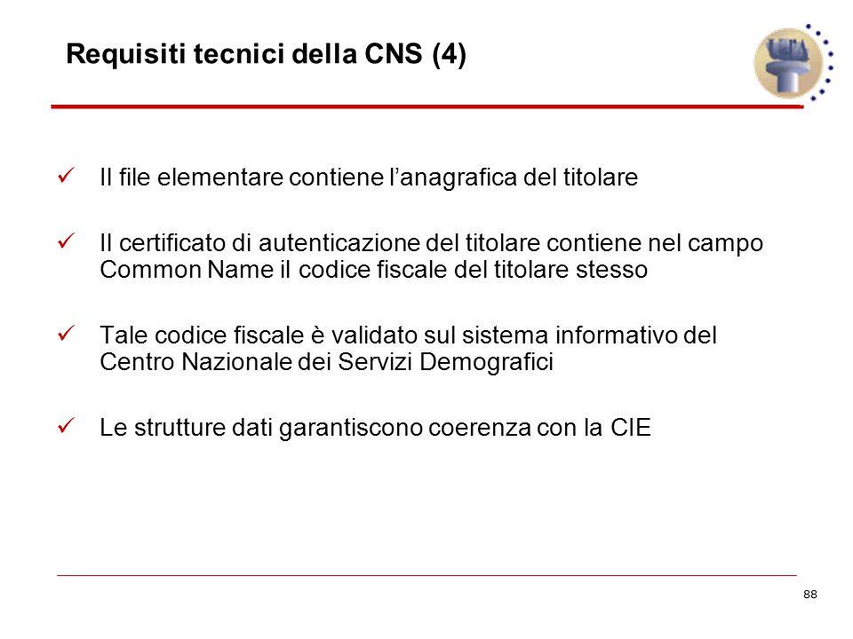 88 Requisiti tecnici della CNS (4) Il file elementare contiene l'anagrafica del titolare Il certificato di autenticazione del titolare contiene nel ca