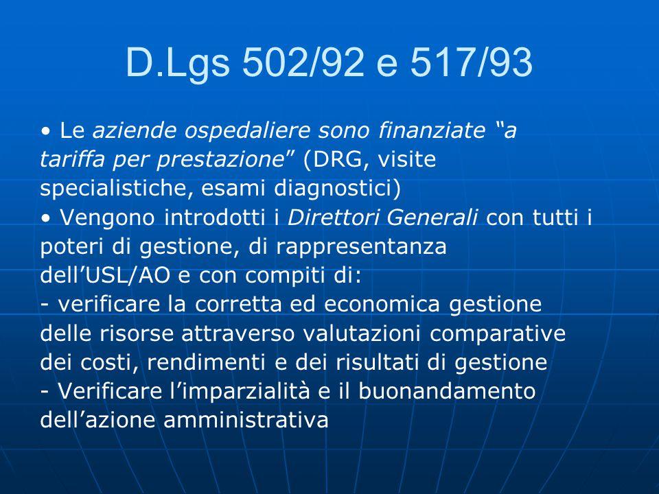 D.Lgs 502/92 e 517/93 Le aziende ospedaliere sono finanziate a tariffa per prestazione (DRG, visite specialistiche, esami diagnostici) Vengono introdotti i Direttori Generali con tutti i poteri di gestione, di rappresentanza dell'USL/AO e con compiti di: - verificare la corretta ed economica gestione delle risorse attraverso valutazioni comparative dei costi, rendimenti e dei risultati di gestione - Verificare l'imparzialità e il buonandamento dell'azione amministrativa