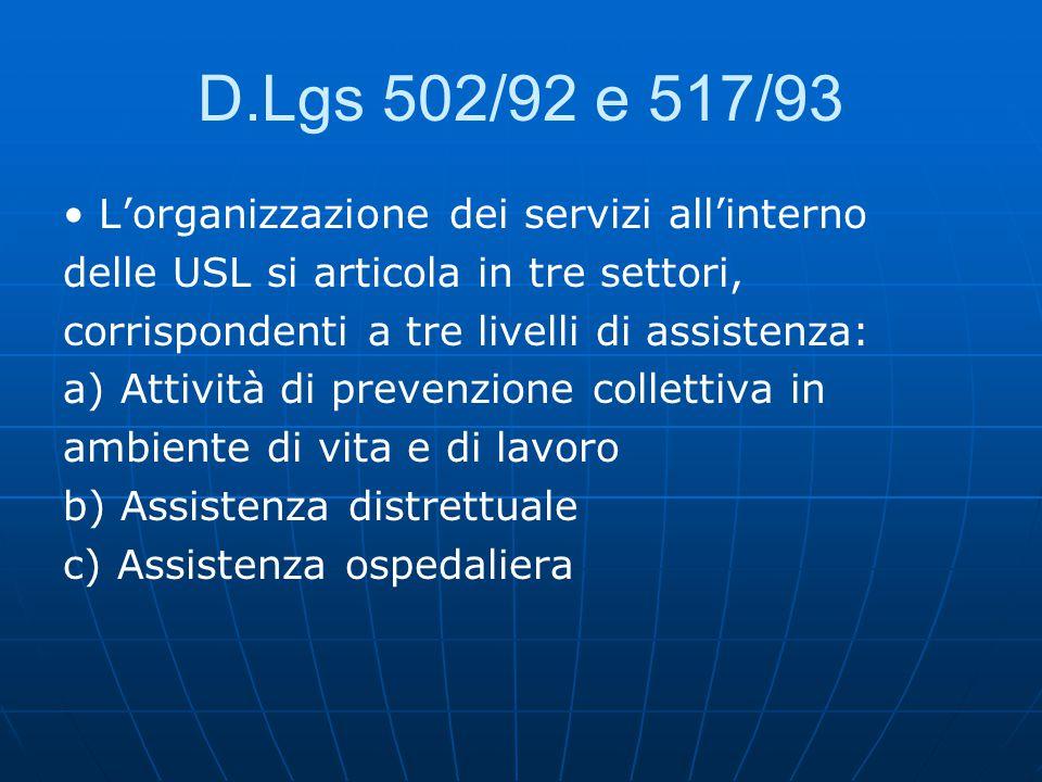 D.Lgs 502/92 e 517/93 L'organizzazione dei servizi all'interno delle USL si articola in tre settori, corrispondenti a tre livelli di assistenza: a) Attività di prevenzione collettiva in ambiente di vita e di lavoro b) Assistenza distrettuale c) Assistenza ospedaliera