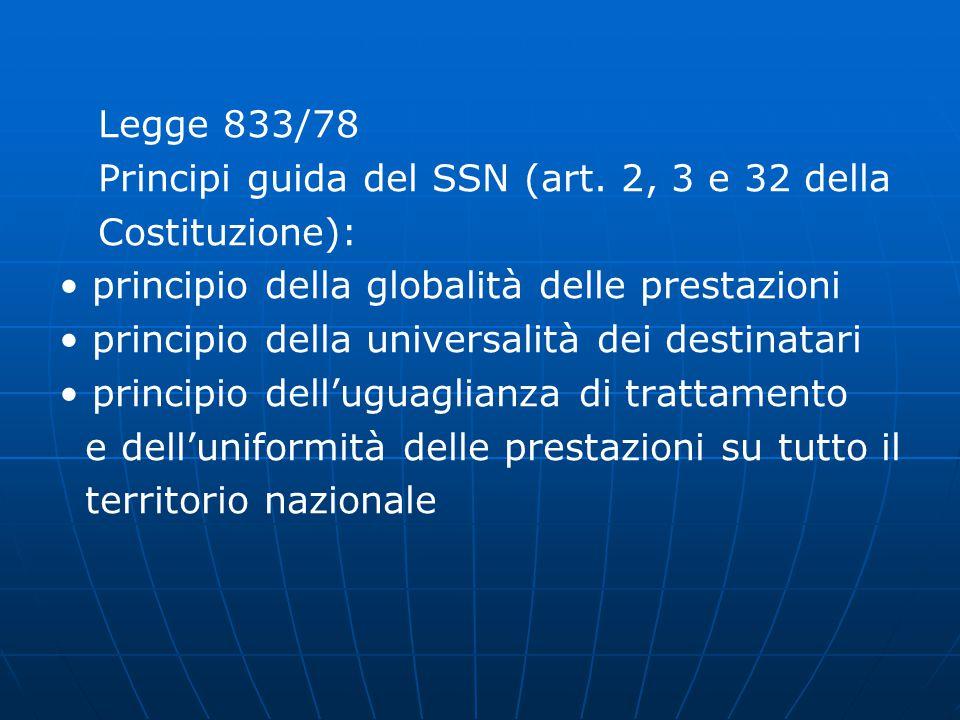 Legge 833/78 Principi guida del SSN (art.
