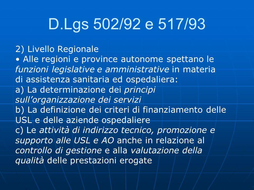 D.Lgs 502/92 e 517/93 2) Livello Regionale Alle regioni e province autonome spettano le funzioni legislative e amministrative in materia di assistenza sanitaria ed ospedaliera: a) La determinazione dei principi sull'organizzazione dei servizi b) La definizione dei criteri di finanziamento delle USL e delle aziende ospedaliere c) Le attività di indirizzo tecnico, promozione e supporto alle USL e AO anche in relazione al controllo di gestione e alla valutazione della qualità delle prestazioni erogate