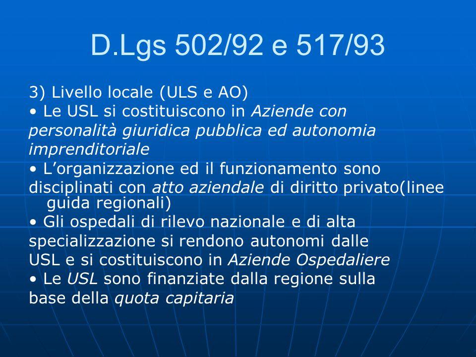 D.Lgs 502/92 e 517/93 3) Livello locale (ULS e AO) Le USL si costituiscono in Aziende con personalità giuridica pubblica ed autonomia imprenditoriale L'organizzazione ed il funzionamento sono disciplinati con atto aziendale di diritto privato(linee guida regionali) Gli ospedali di rilevo nazionale e di alta specializzazione si rendono autonomi dalle USL e si costituiscono in Aziende Ospedaliere Le USL sono finanziate dalla regione sulla base della quota capitaria
