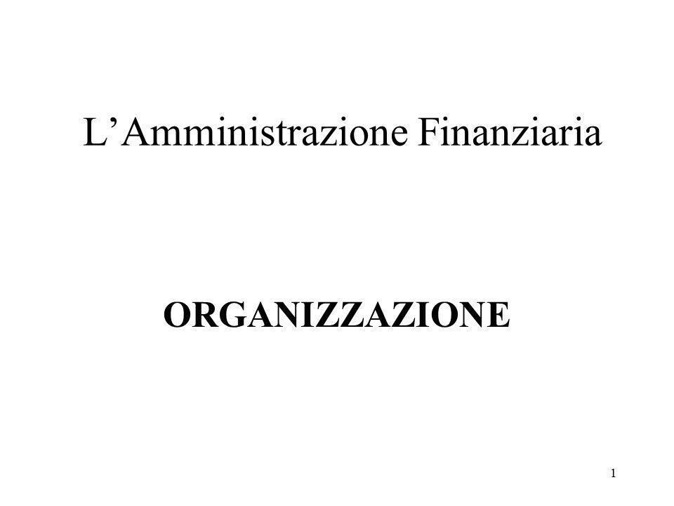 1 L'Amministrazione Finanziaria ORGANIZZAZIONE