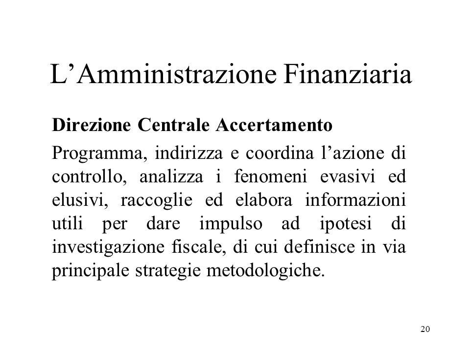 20 L'Amministrazione Finanziaria Direzione Centrale Accertamento Programma, indirizza e coordina l'azione di controllo, analizza i fenomeni evasivi ed