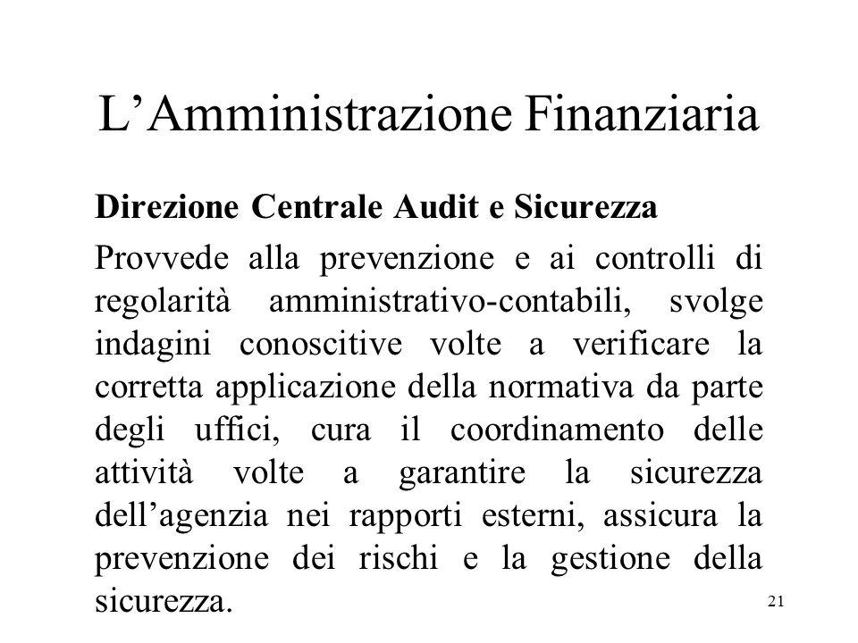 21 L'Amministrazione Finanziaria Direzione Centrale Audit e Sicurezza Provvede alla prevenzione e ai controlli di regolarità amministrativo-contabili,
