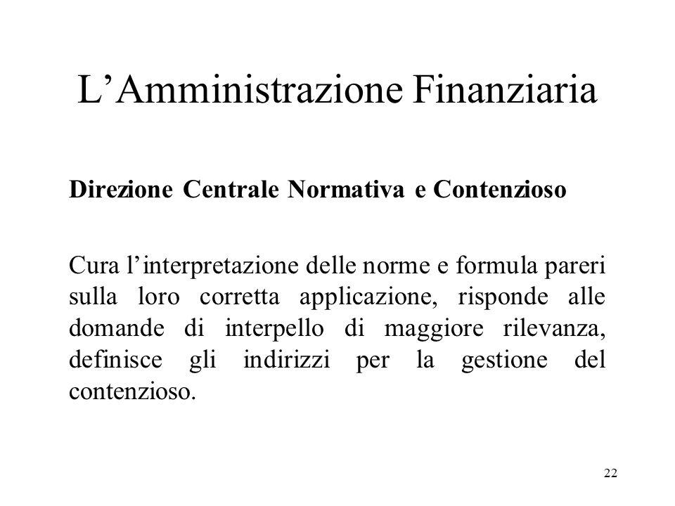 22 L'Amministrazione Finanziaria Direzione Centrale Normativa e Contenzioso Cura l'interpretazione delle norme e formula pareri sulla loro corretta ap