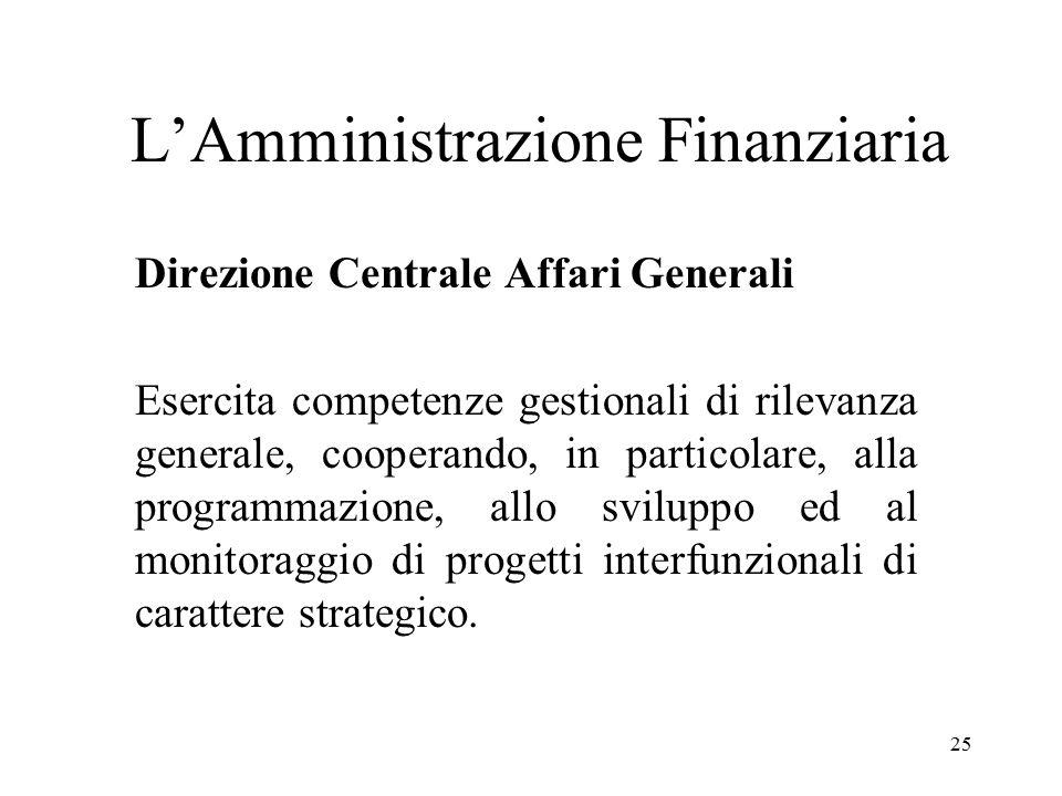25 L'Amministrazione Finanziaria Direzione Centrale Affari Generali Esercita competenze gestionali di rilevanza generale, cooperando, in particolare, alla programmazione, allo sviluppo ed al monitoraggio di progetti interfunzionali di carattere strategico.