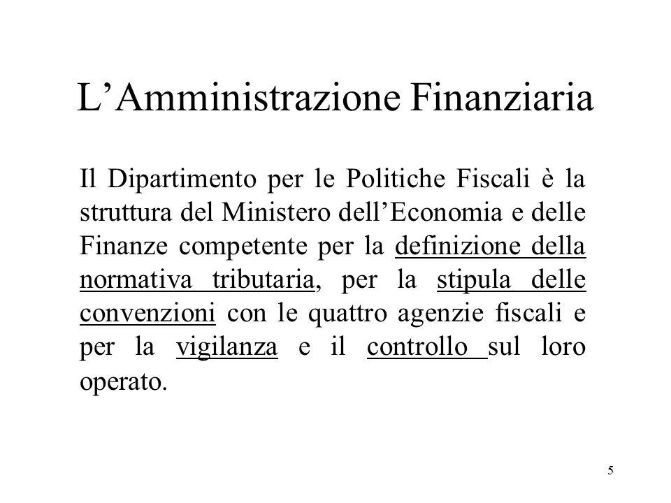 5 Il Dipartimento per le Politiche Fiscali è la struttura del Ministero dell'Economia e delle Finanze competente per la definizione della normativa tributaria, per la stipula delle convenzioni con le quattro agenzie fiscali e per la vigilanza e il controllo sul loro operato.