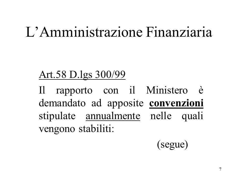7 Art.58 D.lgs 300/99 Il rapporto con il Ministero è demandato ad apposite convenzioni stipulate annualmente nelle quali vengono stabiliti: (segue)