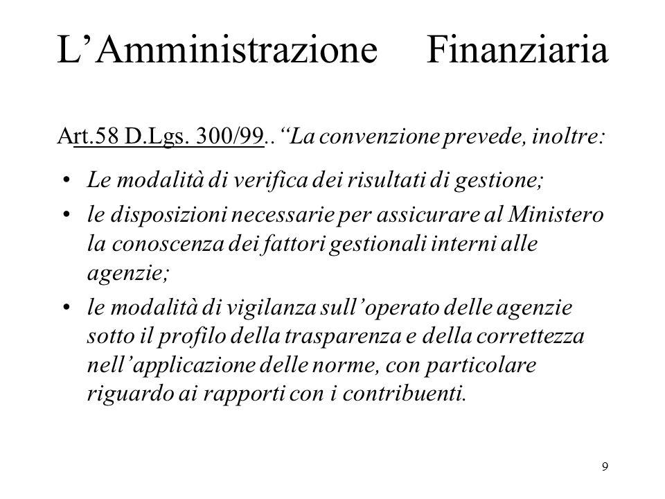 """9 L'Amministrazione Finanziaria Art.58 D.Lgs. 300/99..""""La convenzione prevede, inoltre: Le modalità di verifica dei risultati di gestione; le disposiz"""
