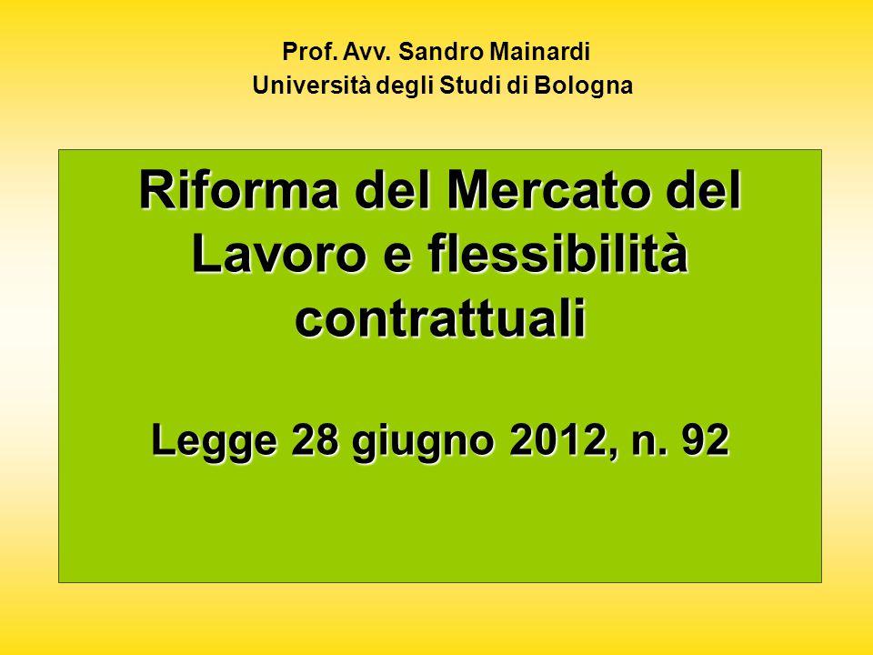 Riforma del Mercato del Lavoro e flessibilità contrattuali Legge 28 giugno 2012, n.