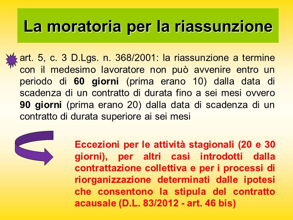 La moratoria per la riassunzione art. 5, c. 3 D.Lgs.