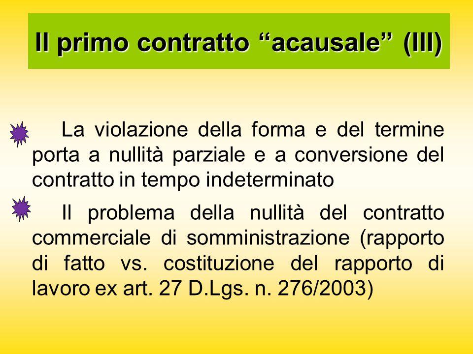 Il primo contratto acausale (III) La violazione della forma e del termine porta a nullità parziale e a conversione del contratto in tempo indeterminato Il problema della nullità del contratto commerciale di somministrazione (rapporto di fatto vs.