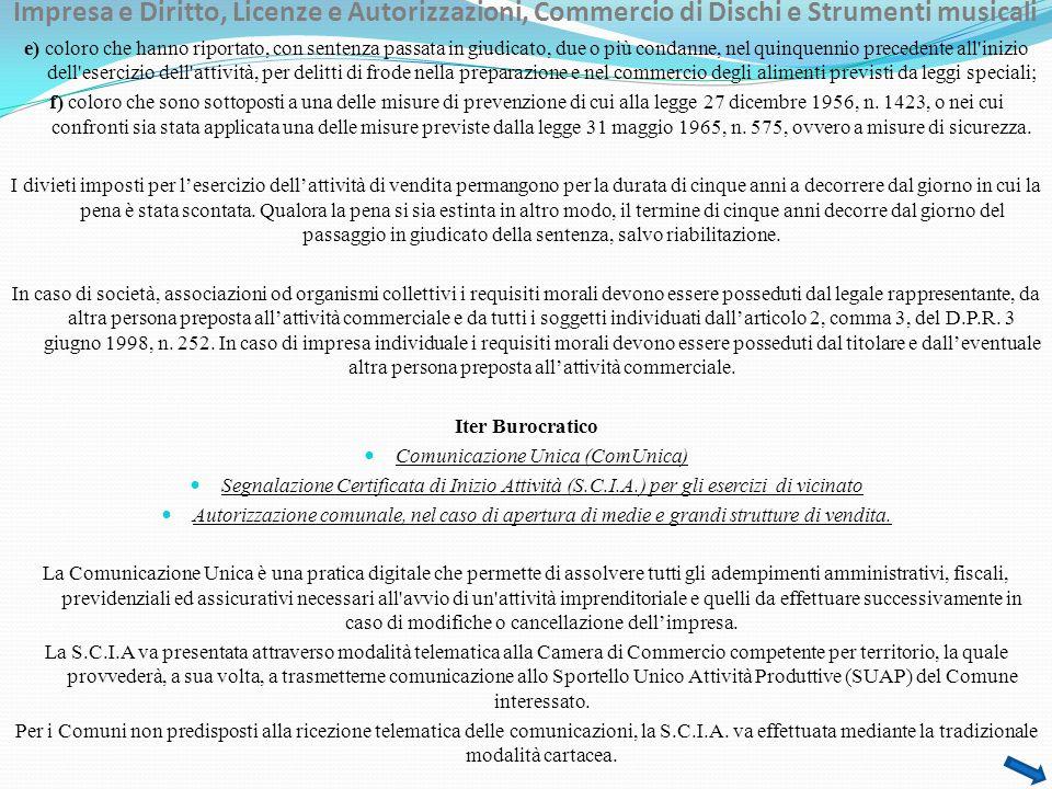 Impresa e Diritto, Licenze e Autorizzazioni, Commercio di Dischi e Strumenti musicali Riferimenti Normativi Nazionali -R.D.