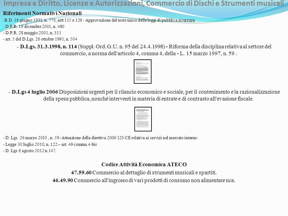 Impresa e Diritto, Licenze e Autorizzazioni, Commercio di Dischi e Strumenti musicali Riferimenti Normativi Nazionali -R.D. 18 giugno 1931, n. 773, ar