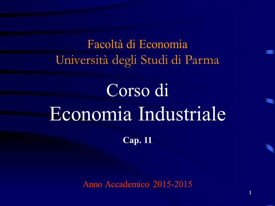 1 Facoltà di Economia U niversità degli Studi di Parma Corso di Economia Industriale Cap. 11 Anno Accademico 2015-2015