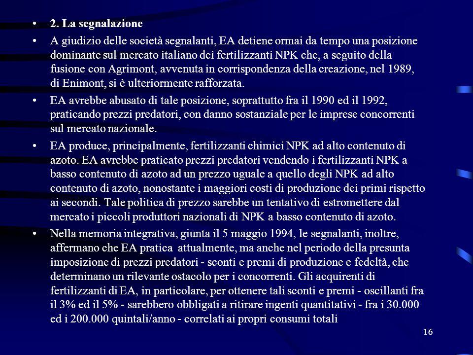 2. La segnalazione A giudizio delle società segnalanti, EA detiene ormai da tempo una posizione dominante sul mercato italiano dei fertilizzanti NPK c