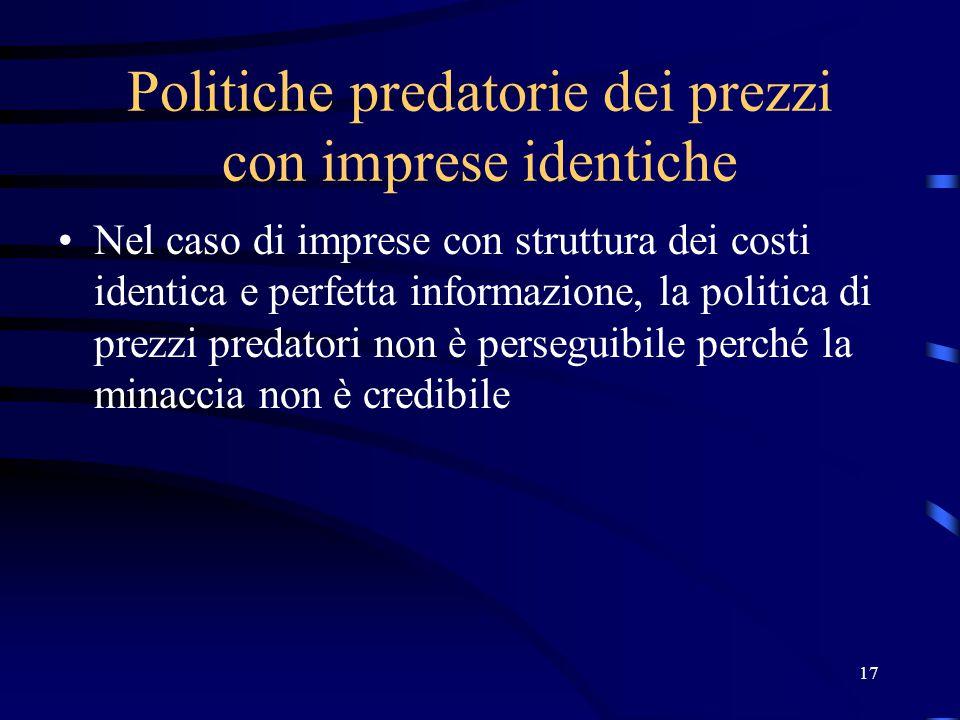17 Politiche predatorie dei prezzi con imprese identiche Nel caso di imprese con struttura dei costi identica e perfetta informazione, la politica di