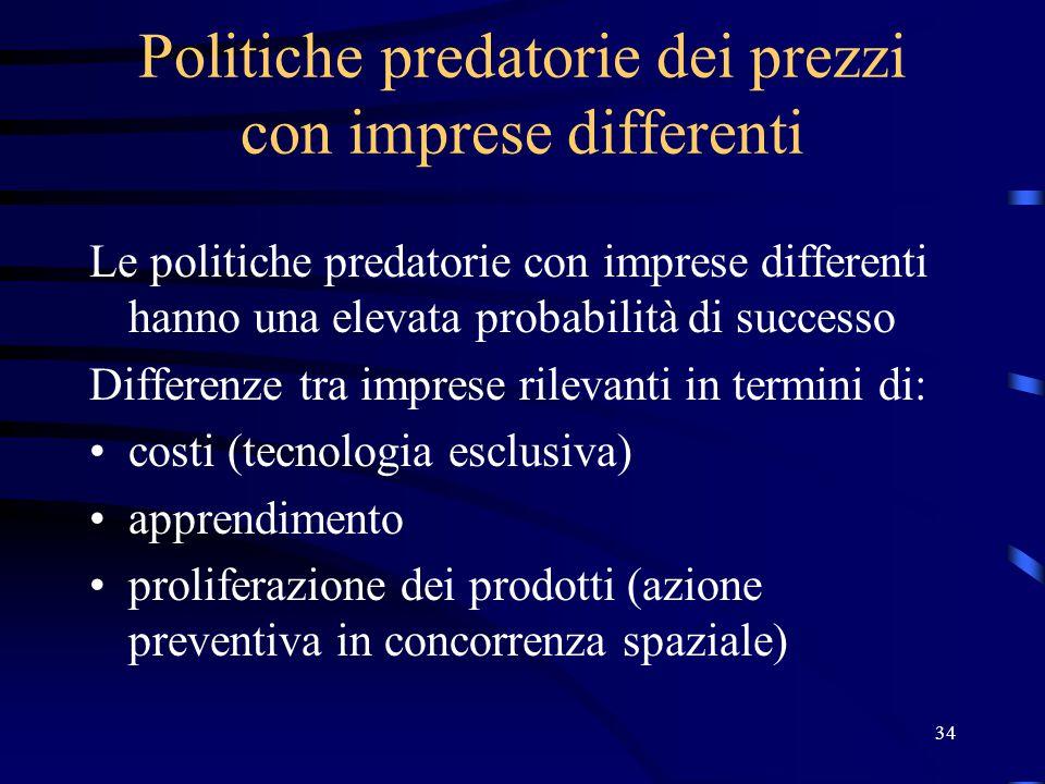34 Politiche predatorie dei prezzi con imprese differenti Le politiche predatorie con imprese differenti hanno una elevata probabilità di successo Dif
