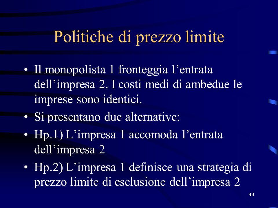 43 Politiche di prezzo limite Il monopolista 1 fronteggia l'entrata dell'impresa 2. I costi medi di ambedue le imprese sono identici. Si presentano du