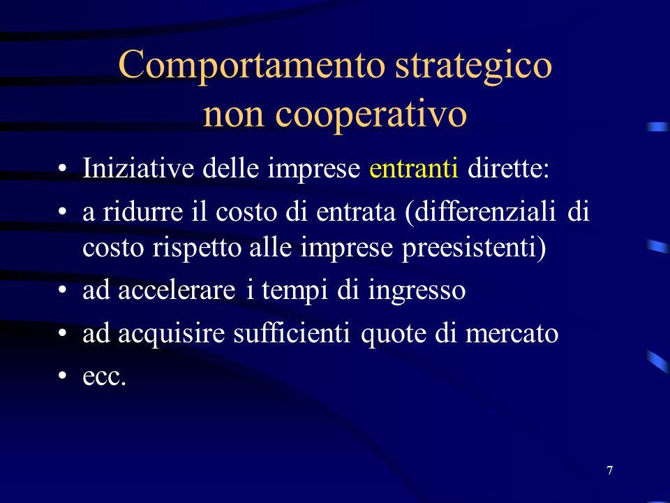 7 Comportamento strategico non cooperativo Iniziative delle imprese entranti dirette: a ridurre il costo di entrata (differenziali di costo rispetto a