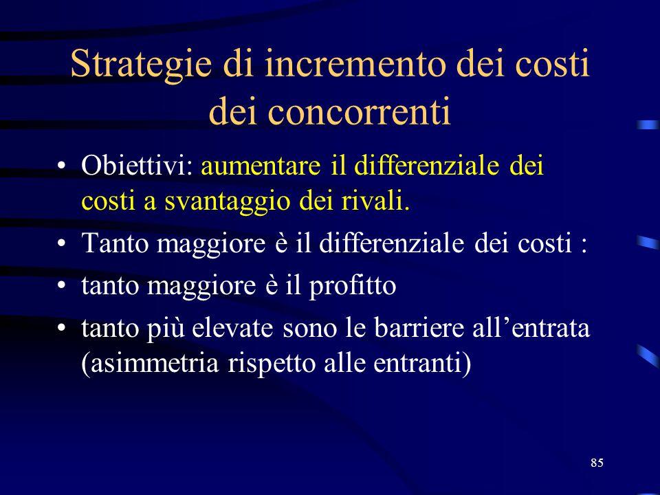 85 Strategie di incremento dei costi dei concorrenti Obiettivi: aumentare il differenziale dei costi a svantaggio dei rivali. Tanto maggiore è il diff